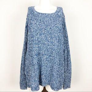 GAP XXL Blue Cotton Ribbed Knit Sweater